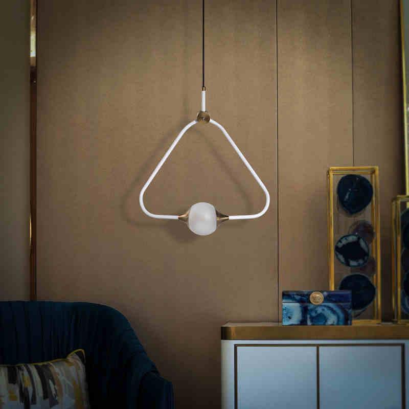 nordic eenvoudige creatieve driehoek kroonluchter woonkamer