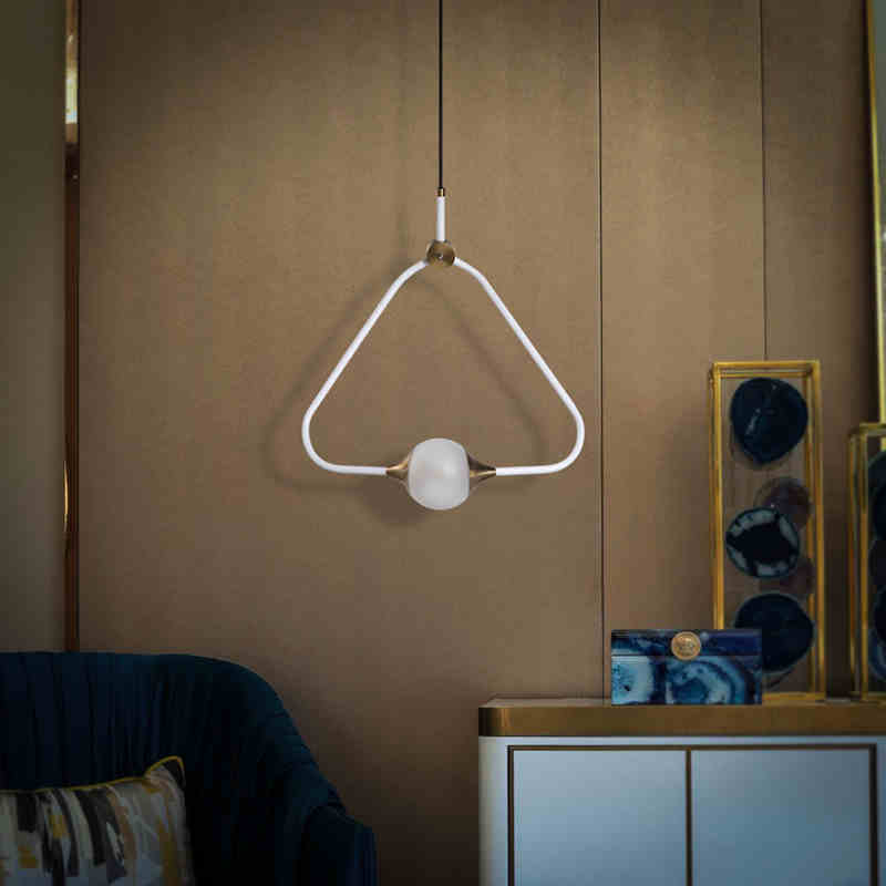 Nordic simple creative triangle chandelier living room bedroom restaurant clothing shop aluminum art special-shaped LED lighting european restaurant crystal chandelier simple ball bedroom modern simple led creative living room lighting dining room