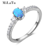 MiLaTu חדש 925 כסף סגלגל נשים טבעות אופל כחול מעוקב Zirconia טבעת נישואים מתנות תכשיטי נקבה 2017 תיבה בחינם R029S