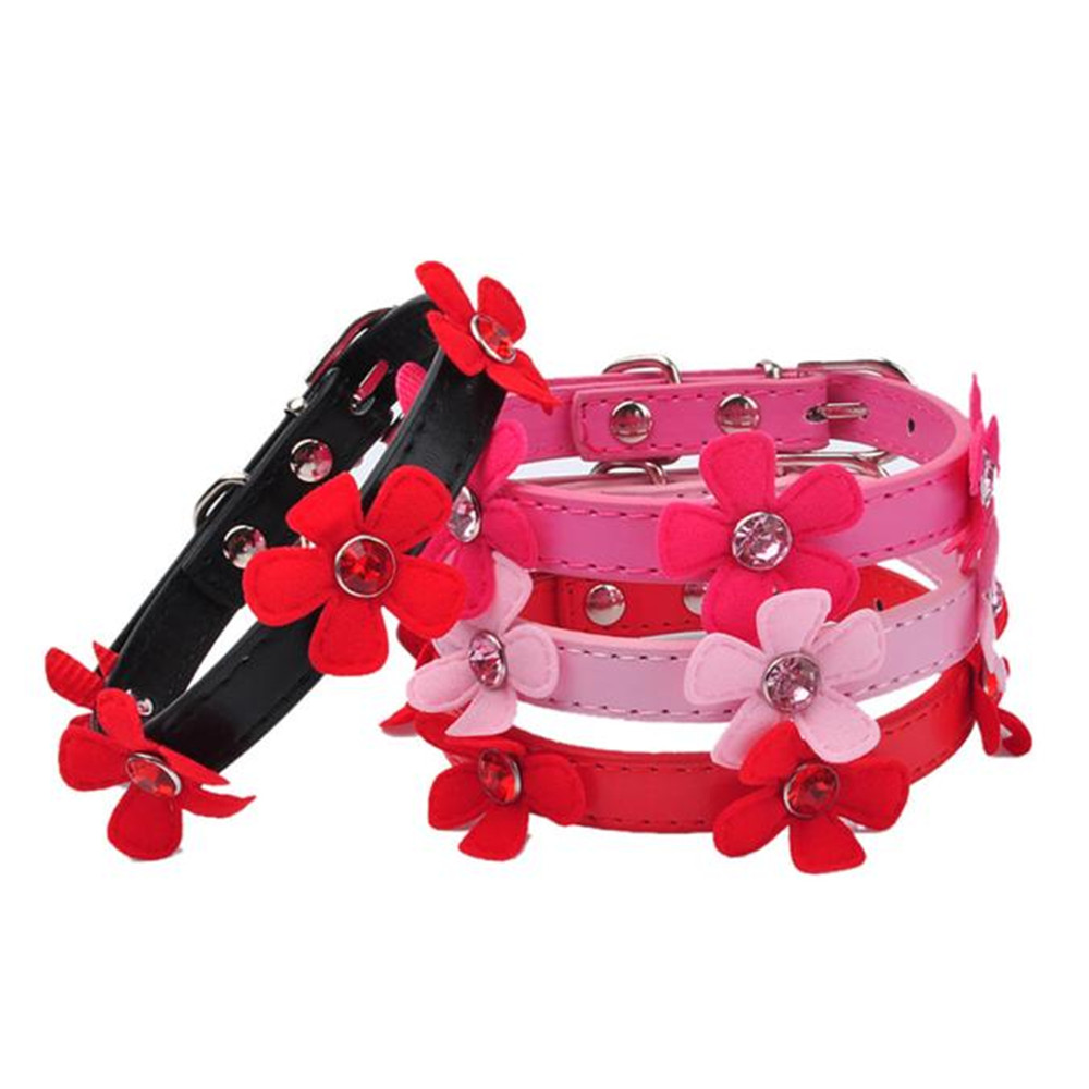 XS/S/M/L 1PC Dog Collar Bling Rhinestone Crystal With Flowers Necklace Pet Puppy Faux Leather Cat #01