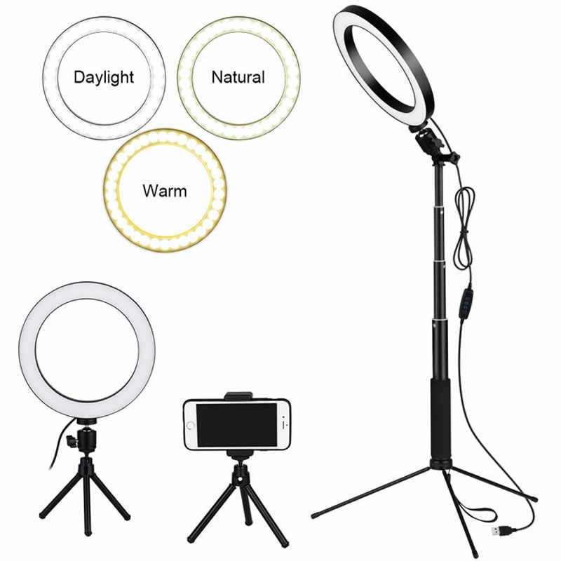 LEDGLE Ring Selfie Floor Light 10W USB Dimmable LED Floor Lamp with Tripod Selfie Stick Reading Lights for Makeup YouTube Video