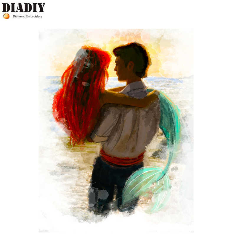 DIADIY Little Mermaid Princess Sea Folk Fairy Tale ของขวัญ, diy 5d เพชรจิตรกรรม/เย็บปักถักร้อยเพชรเพชร cross stitch