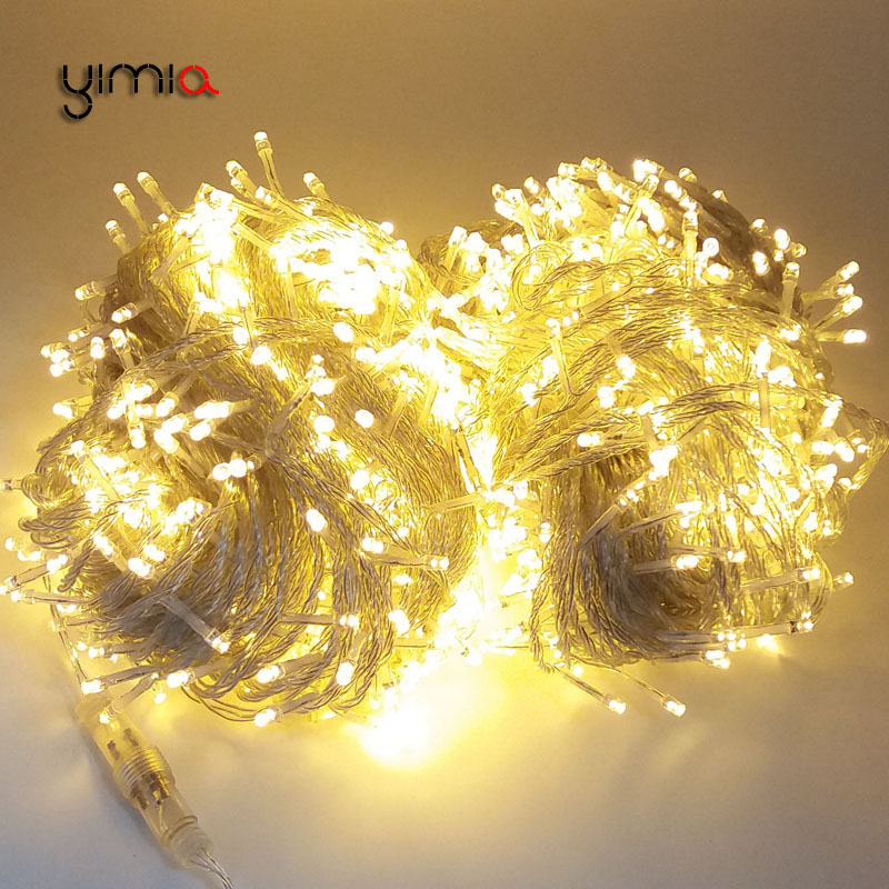 YIMIA 10M 20M 30M 50M 100M Christmas LED Garland String Fairy Light Wedding Holiday Decor Waterproof Outdoor Light AC110V/220V