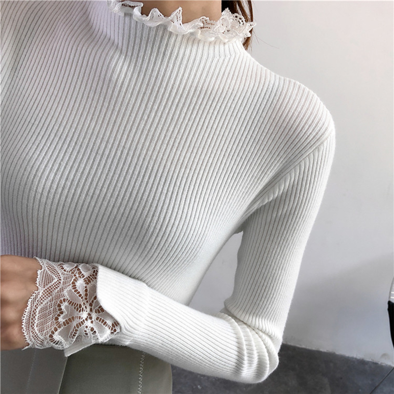 Women Knitted Turtleneck Sweater Women Sweaters And Pullovers Autumn Winter Lace Patchwork Long Sleeve Pullover Pull Femme Hiver Women's Clothing Pullovers