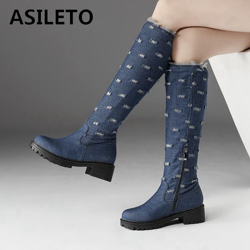 a93cfaf5d1bb ASILETO Plus Size 44 Jeans denim Boots women knee high boots shoes Woman  Warm winter long Boots Female Shoes cowboy boot S885