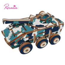 Rosana 3D DIY Assemble Model Wooden Military Weapon Puzzles Tank Armored Vehicle Wood Kits Educational Toys for Children