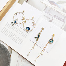Women Cartoon Mermaid Shell Star Anti-allergy Asymmetry Drop Dangle Earrings Korea Handmade Fashion Jewelry Holiday-JQD5