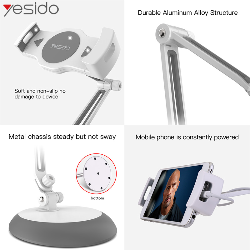 Yesido C33 Universal Lazy Tablet Phone Stand Holder Flexible Desk Bed Mobile Phone Mount Holder For iPhone Samsung iPad Stand in Phone Holders Stands from Cellphones Telecommunications