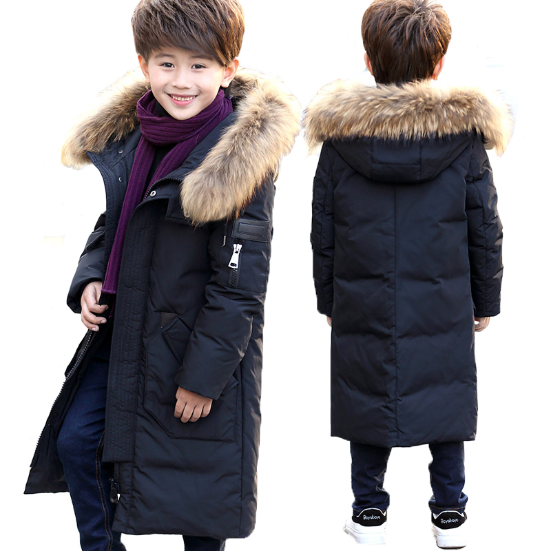 Boy's down jacket with long Korean style thickening children's down jacket