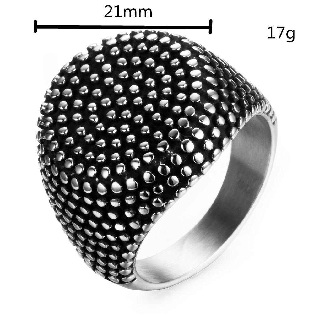 Vintage Ring Men Stainless Steel Finger Art Antique Retro Silver Titanium Stainless Round Rings Point Punk Men Jewelry Designer