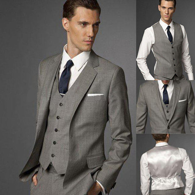 2017 Fashion Terno Slim Fit Gray Wedding Suits For Men Groom Tuxedos Elegant Mens Daily Wear Grey Suit Jacket Pants Vest