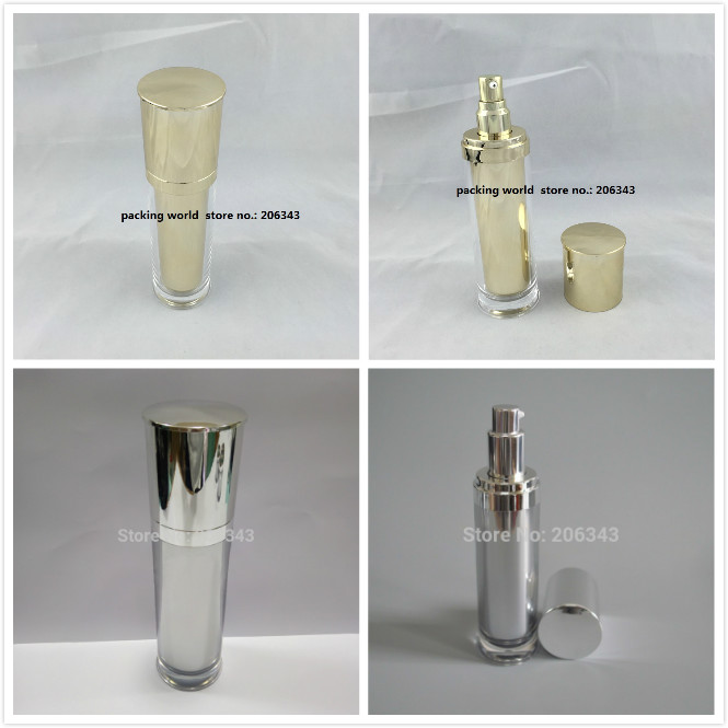 120ml shiny mirror silver/gold acrylic press pump bottlle for lotion/emulsion/foundation/serum/mist sprayer cosmetic packing