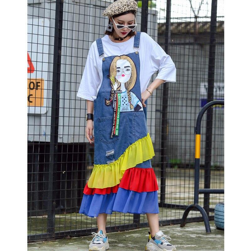 Modo Di Bellezza 2018 Autunno Denim Stampato Allentato Blu Cucitura New Cinghia Thai Stampa E Strada Femminile Vestito Primavera Del xqq0wRY8