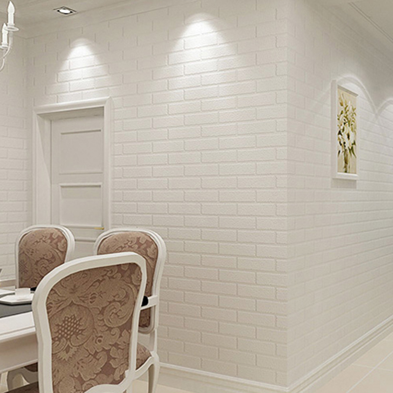Off White 3D Modern Design Brick Wallpaper Roll Vinyl Wall Covering Wall Paper For Living Room Dinning Store WP16016 wallpapers youman modern 3d brick wallpaper roll white thick 3d embossed vinyl covering wall paper store living room tv backdrop