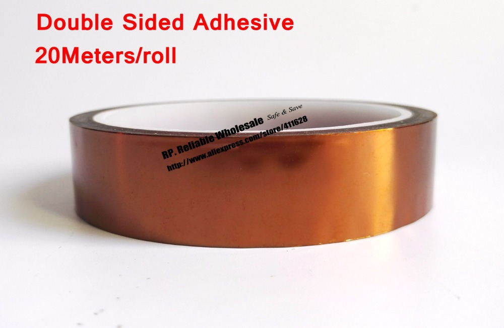 20mm*20 Meters 0.1mm Thick, Heat Withstand, Double Sided Glued Tape, Poly imide for Lithium Battery Polarity Protection 0 06mm thick 160mm 20m heat withstand esd one face glued tape poly imide for relays transformers