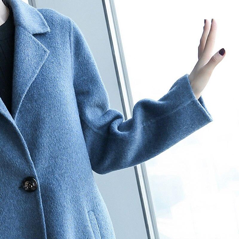 Feminino Casaco Long My170 cream Manteau Laine Kmetram Jassen D'hiver Veste Femmes White Bleu Mince Vintage Dames Alpaga Caramel Unique blue Bouton 6Wnn0Zx