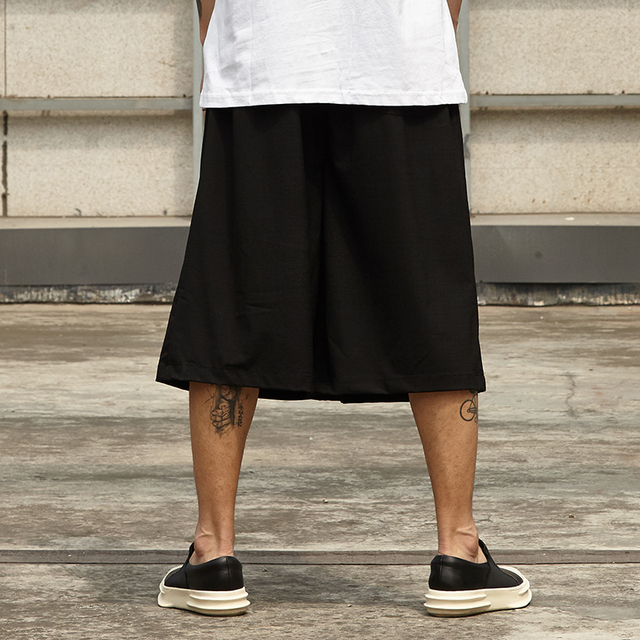 Male Hip Hop Skirt Trousers Men Streetwear Fashion Casual Wide Leg Pant Japan Style Summer Kimono Pant