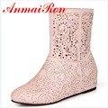 ANMAIRON Новая Мода Высокое качество Выдалбливают Летние Клинья Сапоги 3 Цвета Размер 4-7.5 Повседневная Ботильоны женская Обувь