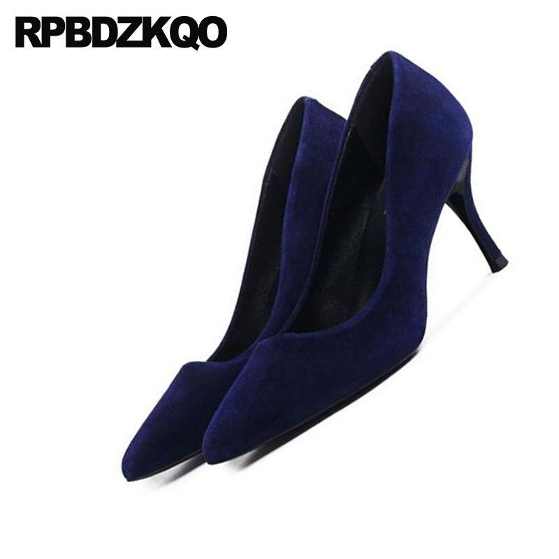 Pointu 4 En Marine Daim Hauts Véritable Chaussures Épais Taille 34 2018 Bleu Talons Bout Qualité Cuir Pompes De Luxe Sexy Dames Top Designer qwwHr7