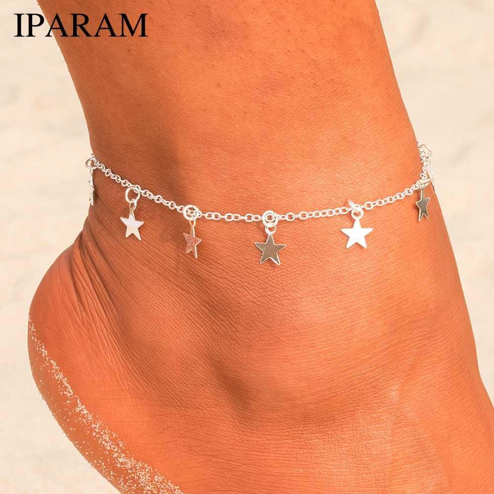 IPARAM Multi Layer Star จี้สร้อยข้อเท้า 2019 ฤดูร้อนใหม่ชายหาดโยคะขาสร้อยข้อมือ Charm Anklets เครื่องประดับของขวัญ