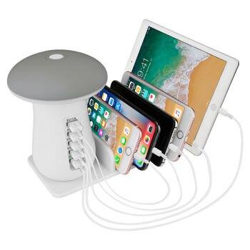 USB hızlı şarj istasyonu QC 3.0 hızlı şarj Dock mantar LED lamba kablosuz iphone şarj cihazı Samsung akıllı telefonlar için Tab