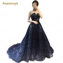 ASWOMOYE Новое Потрясающее Вечернее платье элегантное вечернее платье блестящие платья для особых случаев Платье без бретелей de soiree