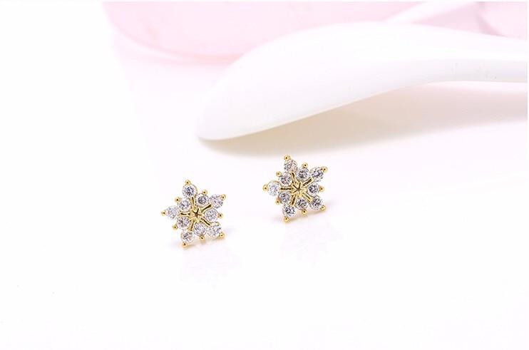 Stud Earring New Hot Sell Trendy Super Shiny Zircon Ice Flower 925 Sterling Silver Earrings for Women Wholesale Jewelry 2