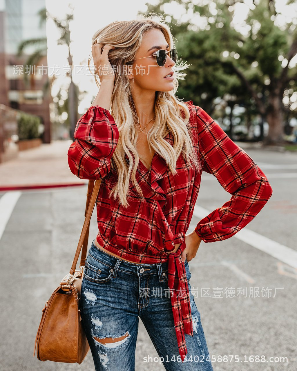shirts white blouses vintage women tops plus size harajuku tops plaid long sleeve blouse woman spring short plaid female in Blouses amp Shirts from Women 39 s Clothing