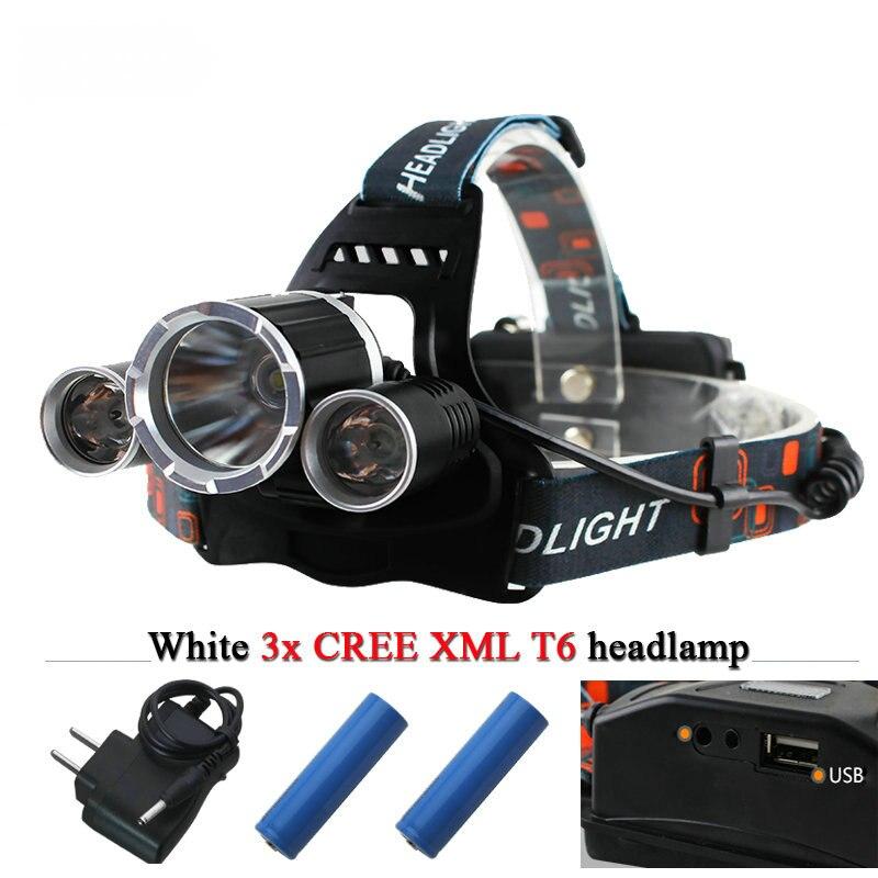 USB <font><b>10000</b></font> lumens 3T6 led headlights LED headlamp CREE XML T6 waterproof head <font><b>light</b></font> 18650 Rechargeable battery Front Flashlight