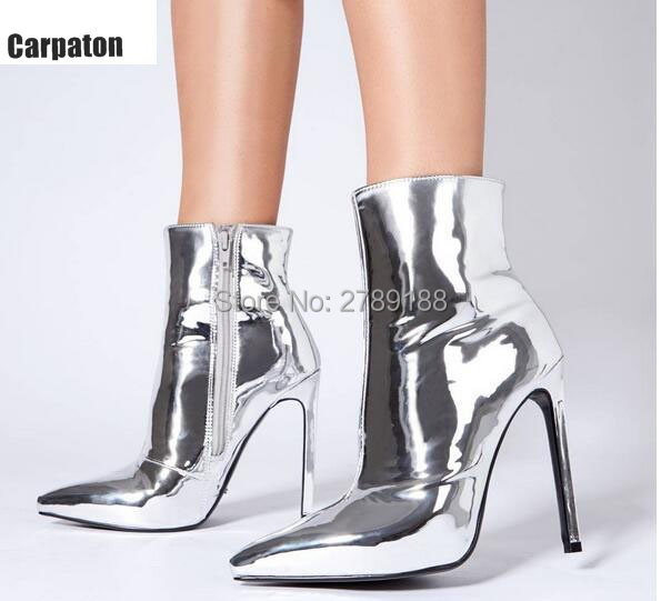 2017 Fashion Woman Mirror Gold Silver Boots Metallic Leather Ankle Booties Pointed Toe High Heels Sexy Ladies Shoes Women Boots pointed toe lace up women ankle boots fashion ladies autumn winter flat heels cuasual boots shoes woman motorcycle short booties