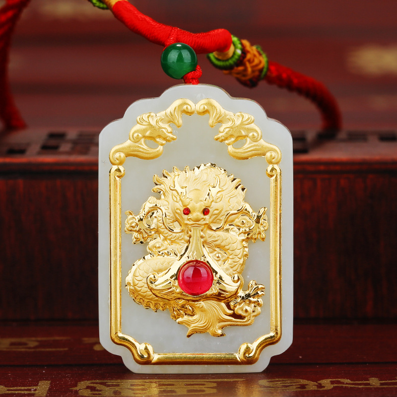 Jade Pendant For Men High Quality Jade Pendant Dragon Jewelry 2018 New Designer Male best Gift vintage women linen shoes thai cotton canvas owl embroidered cloth single national flats woven round toe lace up shoes woman