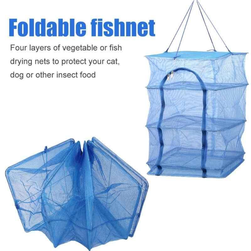 Dobrável Fish Net Enforcamento 4 Camadas Durável Dobrável Pratos de Legumes Secador de Secagem Rack