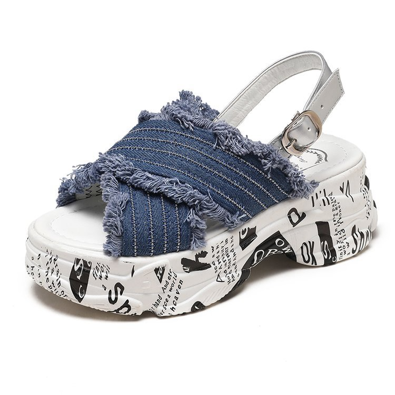 Wedges Sandals Platform-Shoes Open-Toe Crossover Fashion Woman Summer New Thick-Bottom