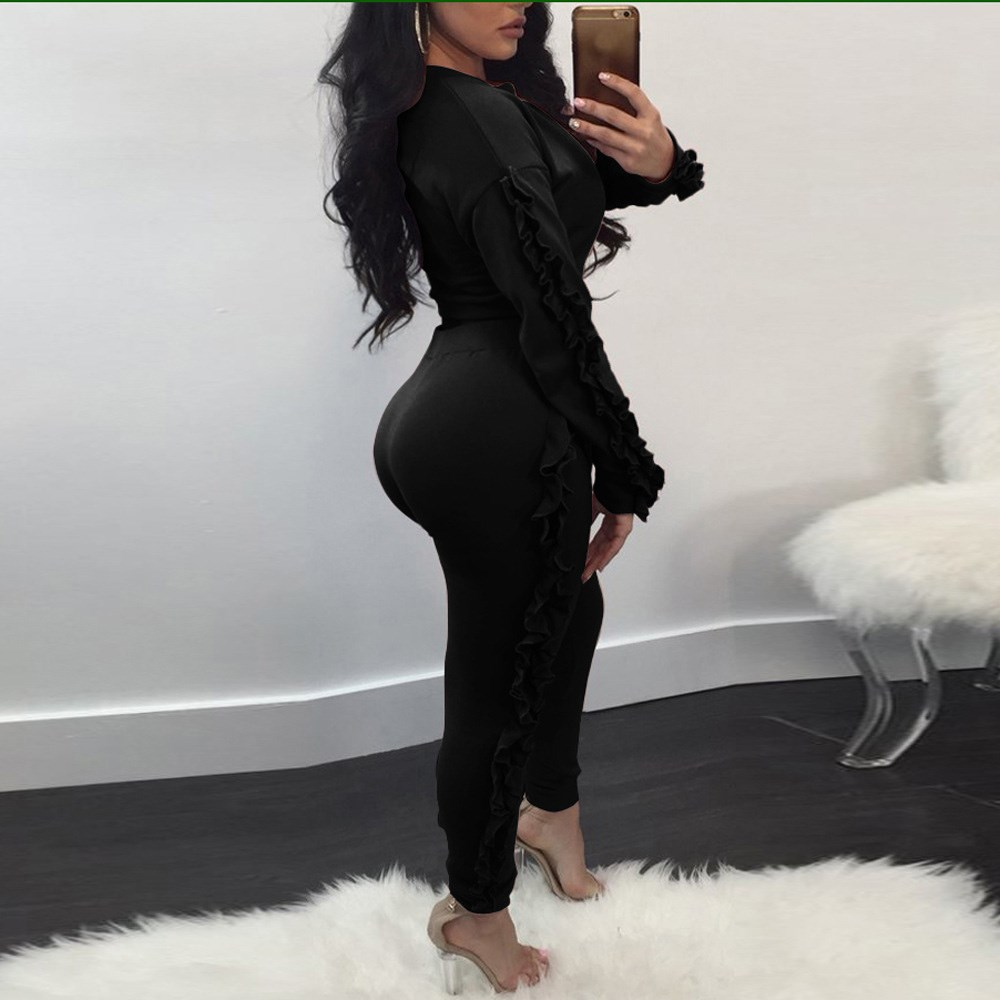 New Fashion Two Piece Sets Tracksuit Ruffles Long Sleeve Pollover Long Legging Pants Suits Sweatsuits for Women Casual Outfits 5