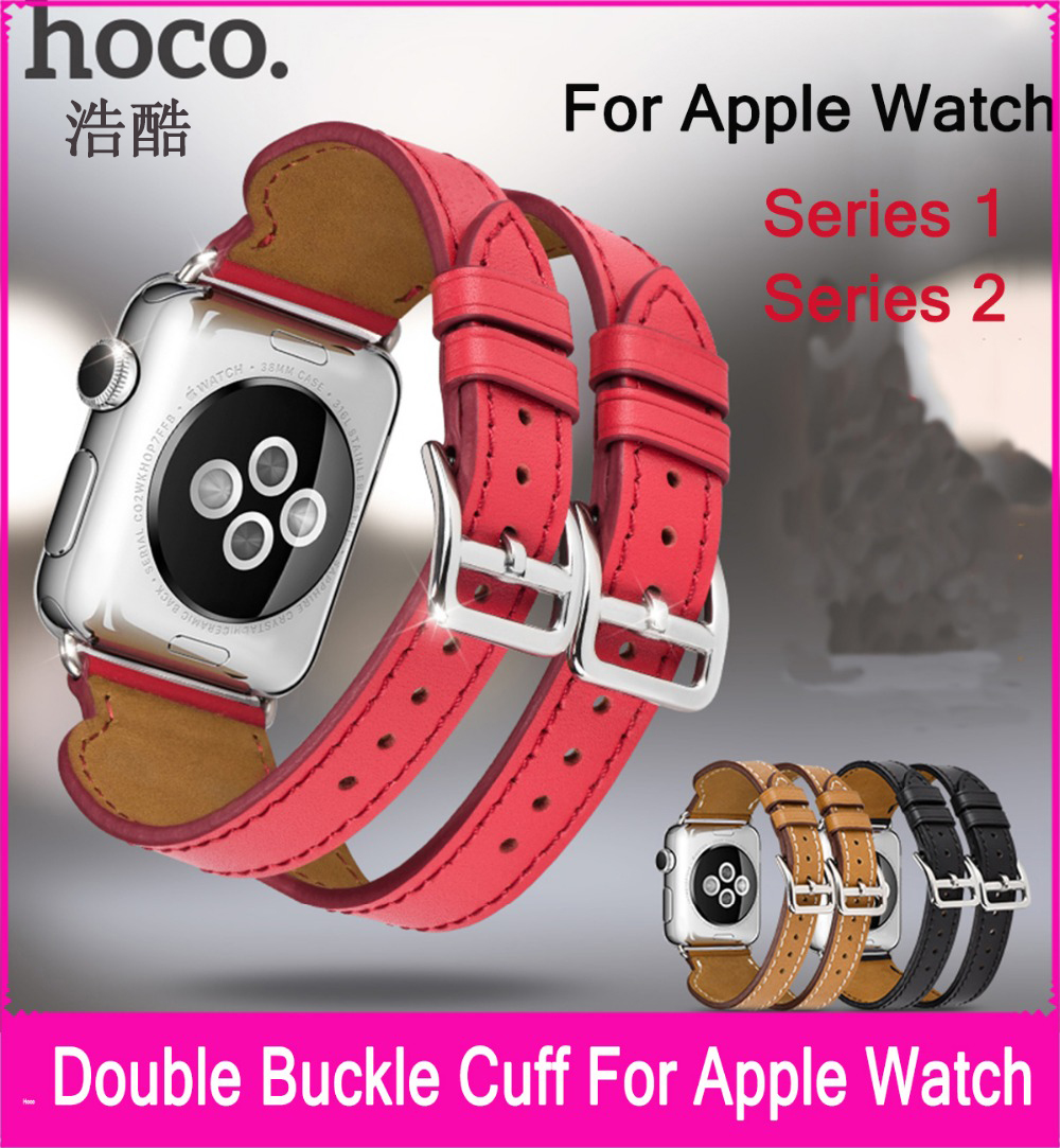 Latest Double Buckle Cuff Genuine Leather Band For Apple Watch 3 38mm 42mm Made By First Layer Calf Leather Also Fit Series 2 new style double buckle cuff genuine leather strap for apple watch 38mm 42mm with 1 1 original metal adapters fit series 1 and 2