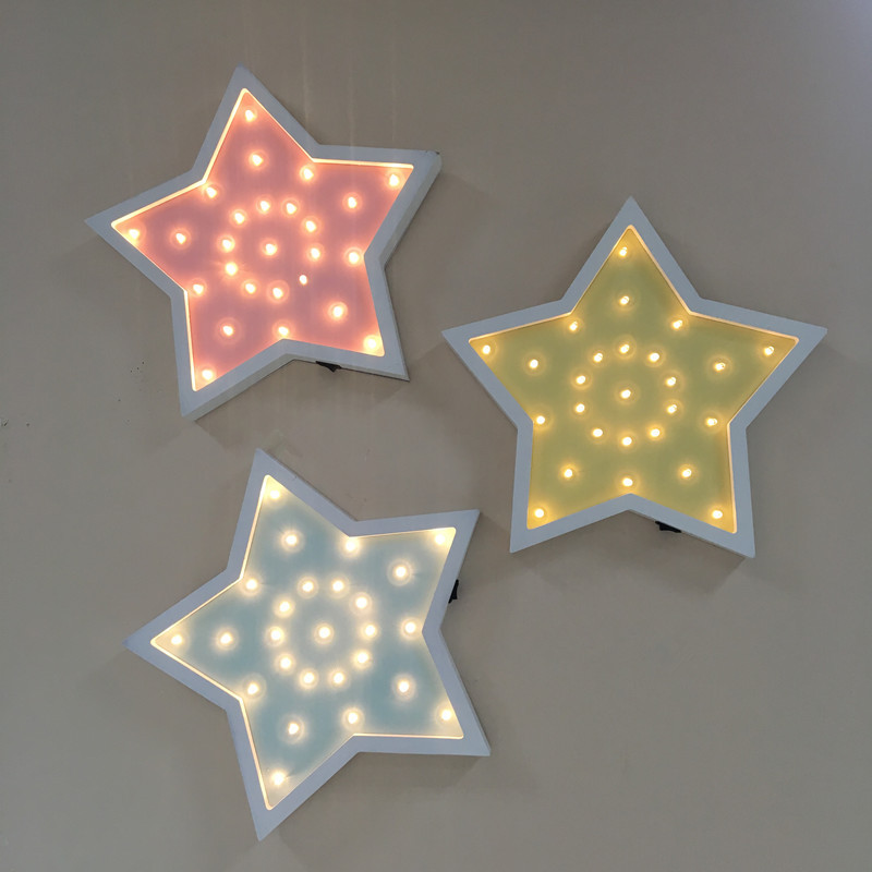 Fashion Wooden LED Night Light Children Gift Cartoon Five Pointed Star Wall Lamp Home Decor Indoor Lighting veilleuse enfant8054