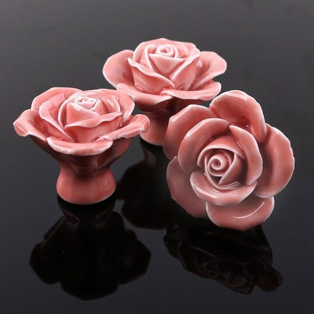 Aliexpress.com : Buy Ceramic Flower Knob Dresser Drawer Pull ...