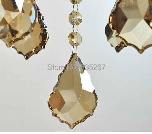 120pcs/lot , 38mm cognac color crystal french leaf chandelier parts hanging pendant suncatcher free shipping
