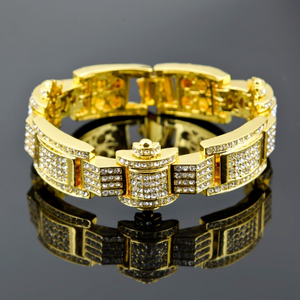 Hip Hop Gold Tone Mens Bling Iced Bracelet Covered with CZ High Quality New  Women Men Chain Bracelet for Party Gift 4 Color-in Chain   Link Bracelets  from ... eedc6d136