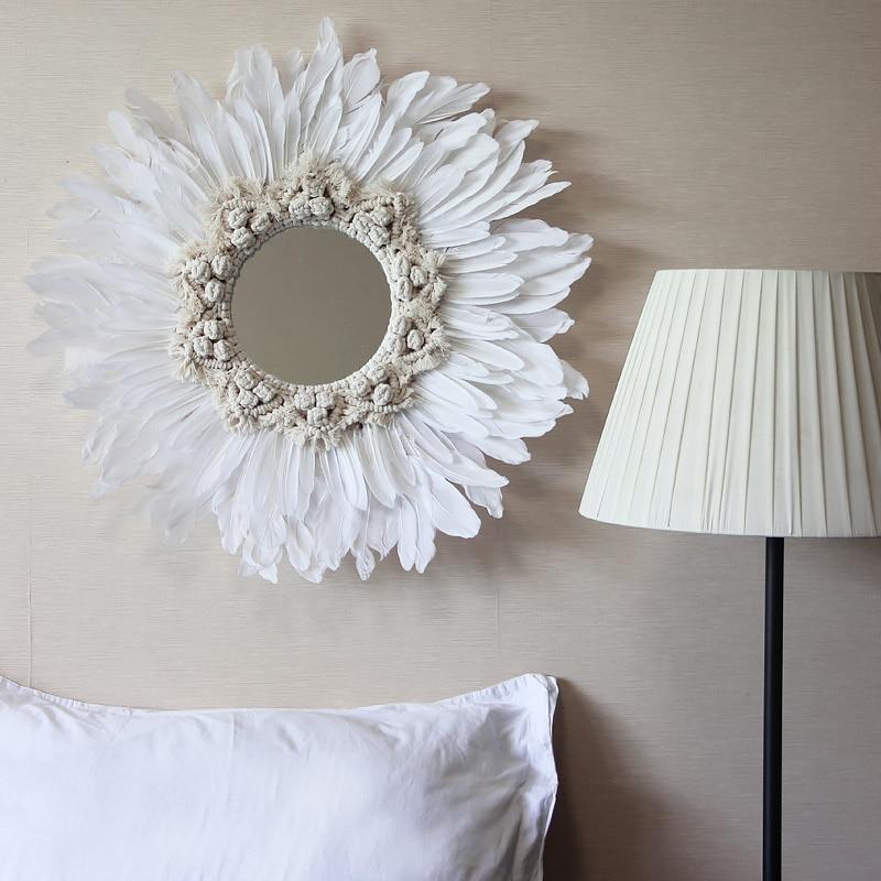 Moderne INS fait main tapisserie plume verre miroir mur décoratif miroir art