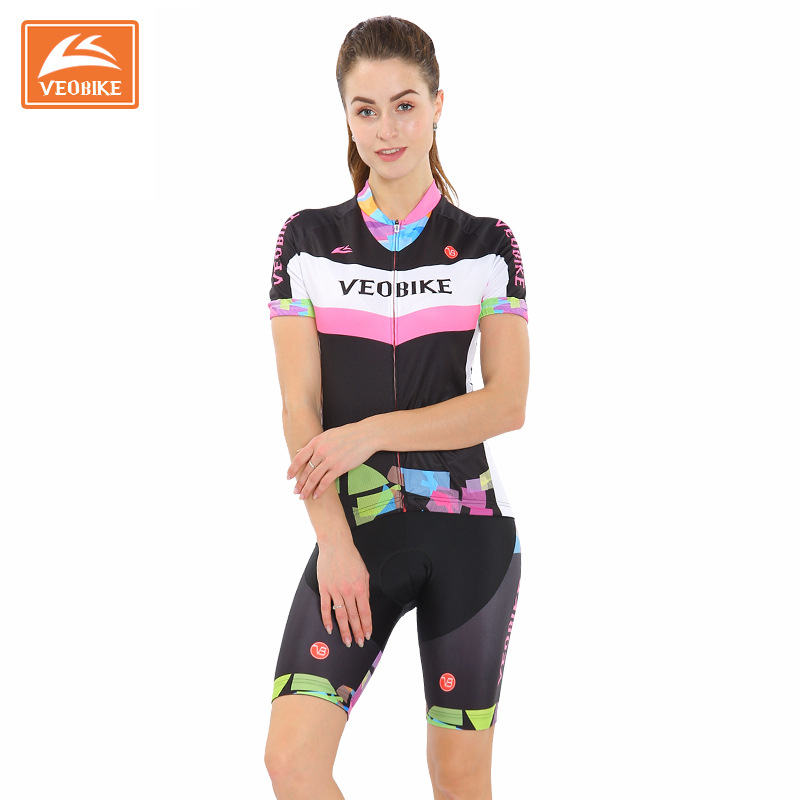 Veobike Cycling Jersey Women Bicycle Jersey Shirts +Padded Shorts Summer Cycling Clothing Sets MTB Mountain Bike Clothes triathlon fitness women sports wear shorts kit sets cycling jersey mountain bike clothing for spring jersey padded short page 9