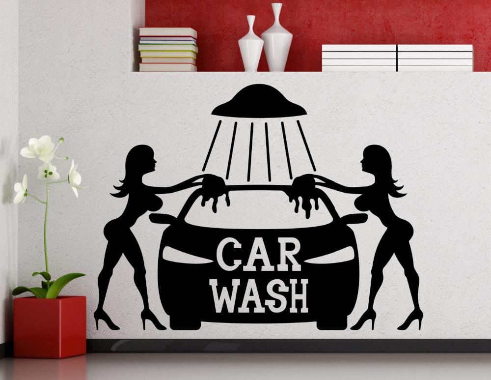 Car Wash Wall Sticker Sexy Girls Car Washing Logo Auto Service Vinyl Decal Home Interior Decoration Waterproof Wall Decals Zb204