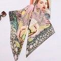 High Style Floral Print Square 100% Silk Twill <font><b>Scarf</b></font> <font><b>Wraps</b></font> Women Head <font><b>Scarves</b></font> Hijab Shawl Foulard 88*88cm