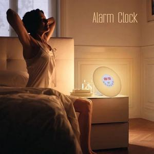 Image 1 - Цветной будильник для спальни новинка RGB LED Sunrise имитация будильника световая лампа fm радио