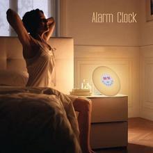 다채로운 침실 일어나 디지털 알람 시계 참신 rgb led 일출 시뮬레이션 알람 시계 라이트 램프 fm 라디오