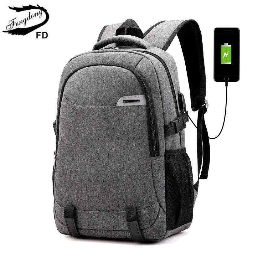 Fengdong School Bags For Boys Usb Charge Bag Laptop Backpack For School Shoulder Bags For Men College Student School Backpack