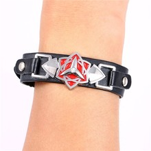 Anime Naruto Metal Bracelet Sasuke Mangekyou Sharingan Leather Punk Bangle cosplay jewelry