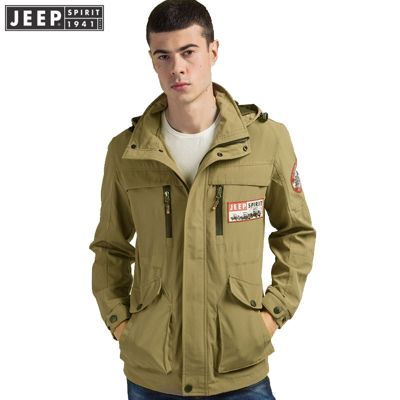 Men Clothes JEEP 2019 Spring Cargo Jackets Coat Military Hooded Bomber Clothes Long Sleeve Solid Color Jacket Original Brand