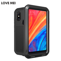 LOVE MEI Metal Armor case for xiaomi Mi 8 shockproof dustproof life waterproof phone case for xiaomi Mi8 with tempered glass