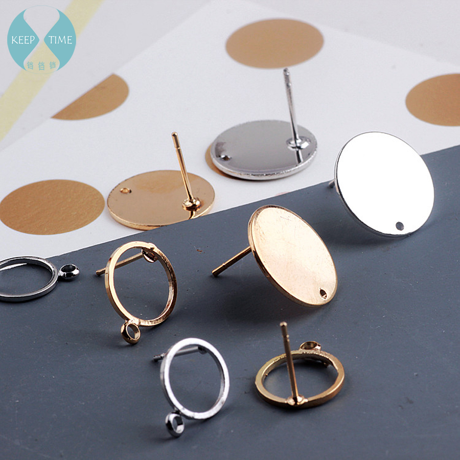 Copper DIY handmade earrings long temperament Korean fashion simple round earrings earrings accessories material